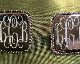 Sterling Silver Monogrammed Stud/Post Earrings with Rope Edge