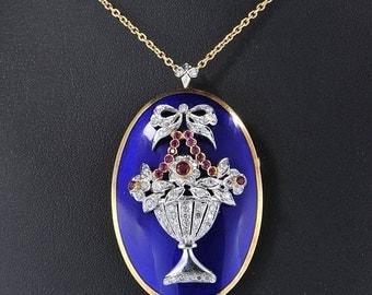 Authentic Art Deco large cobalt blue enamel diamond ruby giardinetti pendant brooch