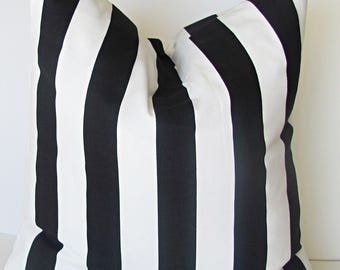 "Black PILLOW COVER. Black Accent Pillow.Black Striped Pillow Cover. Striped Pillow.16"",17"",18"",20"" 24"" 26"", Lumbar Pillow or Euro Sham"