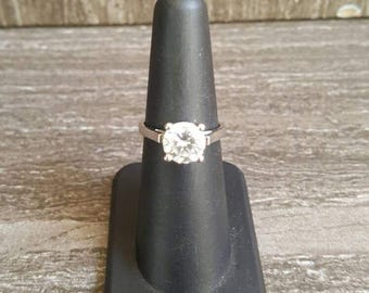 2 Carat solitaire and sterling silver engagement ring. size 6
