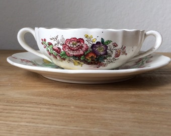 Vintage Discontinued Copeland Spode CONSTABLE Double Handled Cream Soup Bowl & Saucer, May 1950 Copeland Spode, Multi Colored Transferware