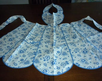 Vintage bib apron Classic blue white heart fabric Valentine Gift fabric exquisite pristine estate apron