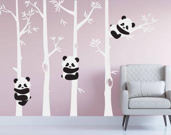Nursery Panda Bear Bamboo Tree Wall Nursery Decal Art Forest Kids Room  White Birch Stickers Custom Part 63