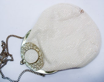 Vintage off white purse - sparkly plastic mesh