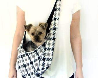 Black, White, Gray Houndstooth Fleece Pet Sling/ Pet Pouch/ Carrier: Houndstooth