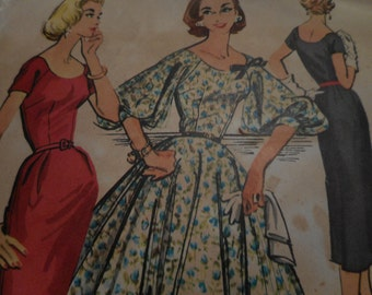Vintage 1950's McCall's 4075 Dress Sewing Pattern, Size 14, Bust 34