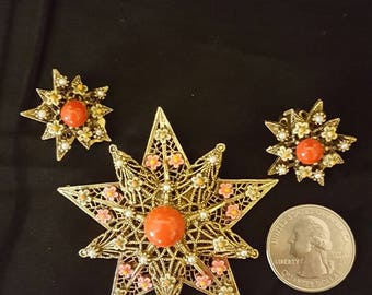 ART star and flower brooch and earring set