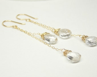 Gold Filled Long Cascading Clear Quartz Gemstone Earrings. Dangle Earring ,Drop Earring,Artisan Jewelry.