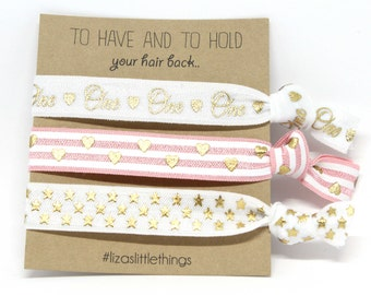 """First Birthday hair ties. """"ONE"""" Fold over Elastic baby girl gifts. Personalized baby shower gift. Foe hair ties gift"""