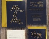 Midnight Polka Gold Foil Confetti Style Wedding Invitations and RSVPs