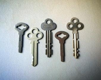 Vintage Flat Keys, Set of Five