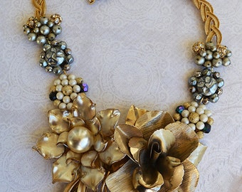 Vintage Glass Pearlized Flower Pedal Brooch Metal Rose Brooch Statement Necklace