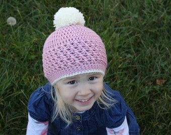 Pink and Cream Pom-Pom Hat, Toddler Girl Pink Crochet Hat, Baby Girl Crochet Hat