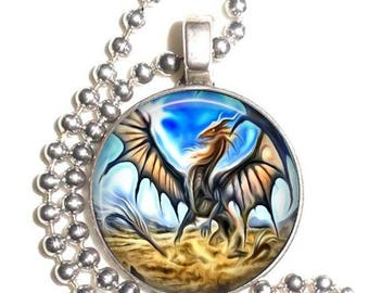 Gray Dragon Altered Art Photo Pendant, Earrings and/or Keychain Round, Silver and Resin Charm Jewelry