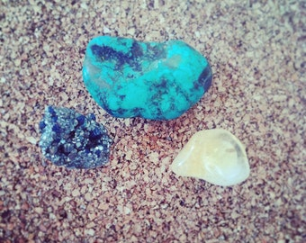 Crystal Thumb Tacks - Set of 3 - Turquoise, Citrine, Pyrite - Great for Vision Boards