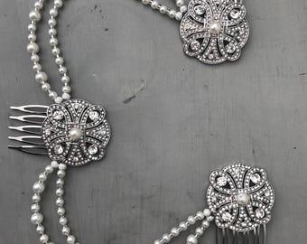 Pearl art deco Hair chain - Bridal hair chain , Art deco headpiece ,  Bridal headdress -  Gatsby headdress - Bridal hair accessory