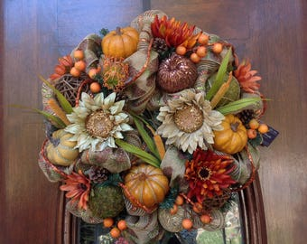 Sunflower Fall Mesh Wreath
