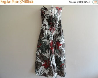 SALE Strapless Tropical Dress Floral Hawaiian Vacation Bustier S M Vintage