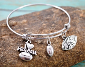 Football Bangle Bracelet ~  Sports Jewelry ~ Football Jewelry ~ Themed Bracelet ~ Birthstone Bracelet ~ Football Mom
