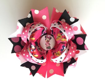 SALE! Ready To Ship Hairbow! Hot Pink Minnie Mouse Hairbow, Minnie Mouse Polka Dot Hairbow, Polka Dot Boutique Hairbow, Girls Hairbow