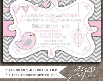 Baby Shower Invitation Girl Invitation Bird Baby Shower Invitations Printable Invitation Printable Baby Shower Invitations Birds Shower