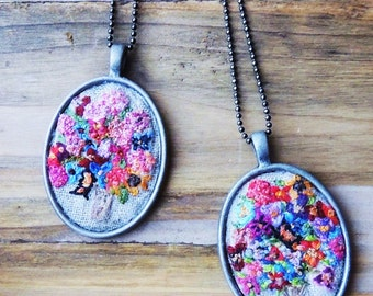 Hand embroidered Valentine pendant embroidered flowers with silver finish long necklace