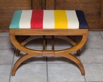 Hudson Bay Blanket Ottoman Footstool Bench | Reupholstered Vintage Furniture | Blanket Furniture | Original Design | Milo Milo