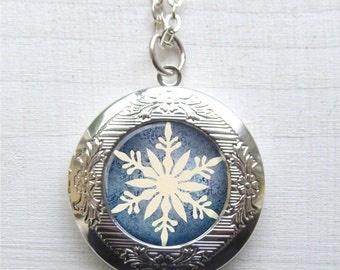 Photo Locket, Snowflake Necklace, Locket Necklace, Winter Jewelry