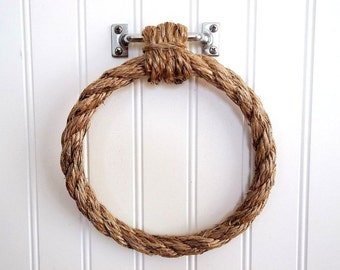 Rope Towel Holder Ring Rustic Nautical Coastal towel holder wall fixture Beach Decor Farmhouse Bathroom Kitchen Boat stainless towel rack