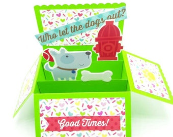 Dog themed pop up card, dog lover card, box pop up, fun pop up greeting card, Doodlebug puppy stickers, any occasion card