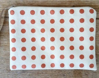 Straight Spot pouch - metallic copper on off white flat zip pouch - screen printed and handmade