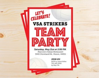 Editable Volleyball Team Party Invitations - INSTANT DOWNLOAD PRINTABLE - Red and Black
