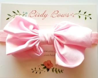 Pink Chiffon Bow Headband, Baby Headbands, Baby Girl Headbands, Infant Headbands, Baby Bow, Infant Bow, Girl Headband