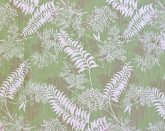 """Green  and White Fern Print Tablecloth 59"""" wide x 81"""" long"""