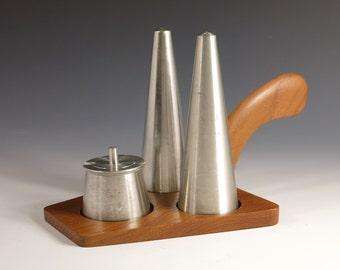 Pewter and Teak Condiment Set - Selangor Pewter Salt & Pepper Shakers, Mustard Pot -  1970s Conical Danish Modern Mid Century Cruet Set
