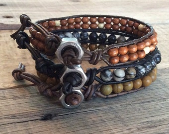 Men's Leather Wrap bracelet - Leather Bracelet - Men's Gift - Men's Bracelet -  Rocker Biker Bracelet