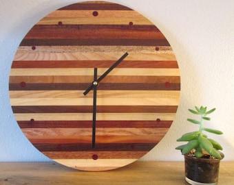Wall Clock, Round Wood Wall Clock, Wood Strip Wall Clock, Kitchen Clock