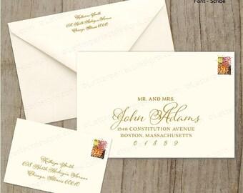 Custom Wedding Digital Calligraphy Envelope Addressing Printing Invitations- Scribe