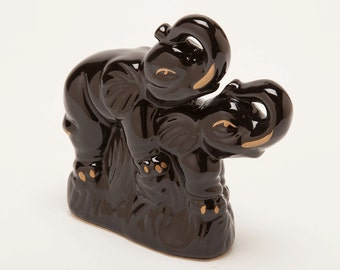 ELEPHANTS MATING - Very Very Bizarre Ceramic Piece - Vintage Elephant Sculpture
