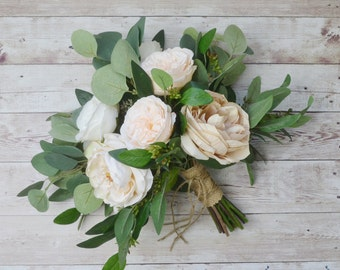 wedding bouquet, eucalyptus bouquet, peony bouquet, cabbage rose bouquet, silk bouquet, bridal bouquet, wedding flowers, rustic bouquet