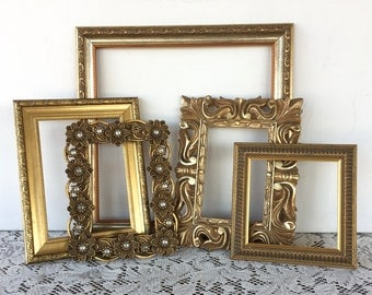Gold  Wall Frame Gallery - Open Empty Wall Frames - Set of 5 - Hollywood Regency