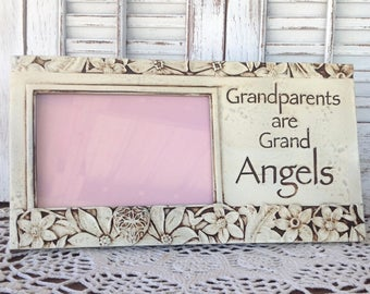 GRANDPARENTS are GRAND ANGELS Picture Frame / Antique White 4 x 6 Table Top
