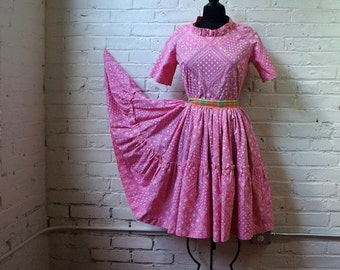Pink Bandana Dress 1960s Vintage 50s Silhouette Cotton Party Dress MEDIUM Country Western Short Sleeve Ruffled Full Circle Prairie Skirt
