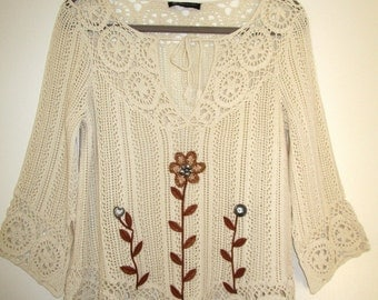 Upcycled Artsy Sweater Size M/L