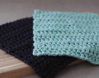 Green and Black Crochet Dishcloth Set. Gift for mom, Mother's Day Gift Under 15, House Warming Gift Set for Kitchen.