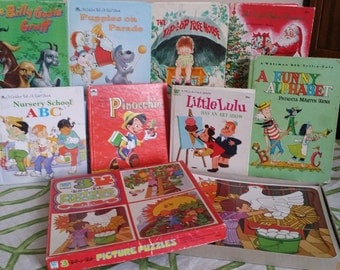 Witman 9 Tell-A-Tale books and a box set of 3 puzzles