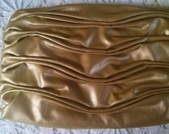 Ruched Gold Handbag