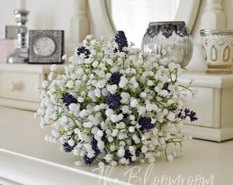 Lavender bouquet / Purple / White / Baby's breath bouquet / Silk bridal bouquet / Destination wedding / White Baby's breath / Bridal bouquet