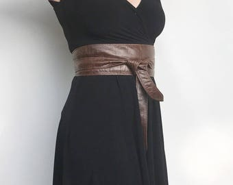 Brown Leather Obi Belt, Wrap Wide Fashion Belts, Women Belt, Stylish Belts