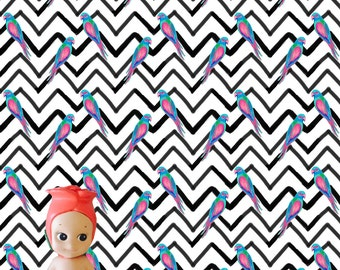 Chevron Parrots Dollhouse Wallpaper Download